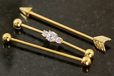 """3 Pc Gold Plated C.Z. Arrow, Plain Industrial Barbells, Cartilage 14g 1.5"""""""