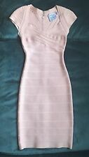 HERVE LEGER RAQUEL SIGNATURE CAP-SLEEVED PETAL / BLUSH BANDAGE DRESS SZ. XXS