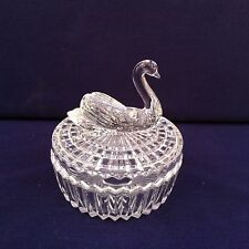 Vintage Powder Dish Clear Glass Swan Lipstick Holder on Top Vanity Collectible