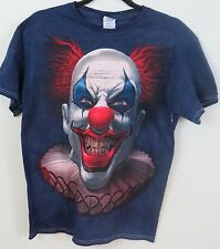Blue Short Sleeve T Shirt Scary Evil Zombie Clown Pennywise NEW Size L