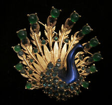 "Rare Vtg 1-3/4"" Signed & Numbered Boucher Gold Tone Enamel Peacock Brooch A39"