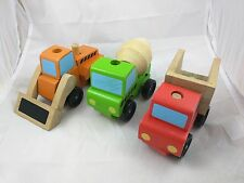 Melissa and Doug Stacking Vehicle Puzzle Lot of 3 Dump Truck Loader Cement Mixer