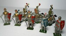 (8) Prewar Heyde Medieval Knights w/ Swords & Knights On Horse Back