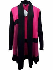 New-Pink Plum & Black Colour Block Longline Cardigan-Open Front Jacket-14-16-18