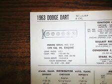 1963 Dodge Dart Series TL1-L-H-P 170 CI L6 SUN Tune Up Chart Sheet Great Shape!