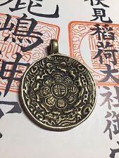 Latón chino budista tibetano cuadro de Protección Talismán Amuleto Zodiaco espiritual