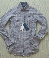 FACONNABLE NAVY BLUE MULTI WOVEN BUTTON DOWN SHIRT - Sz 2 USA, Orig $225, NWD