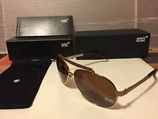New Mont Blanc MB454S 28M  Sunglasses, Shiny Rose Gold / Brown Polarized