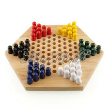 Quality Traditional Vintage Wooden Wood Chinese Checkers Game Toy Game Board Z