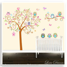 Owl Wall Stickers Animal Jungle Zoo Tree Baby Nursery Kids Bedroom Decals Decor
