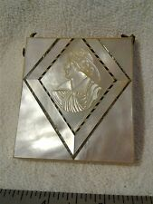 Antique Mother of Pearl hand carved dance card carrier