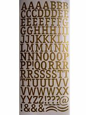 MEDIUM LETTERS Peel Off Stickers 15mm Alphabet Card Making Gold or Silver
