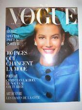 Magazine VOGUE PARIS mode French #678 aout 1987 Christy Turlington