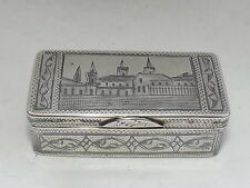 ANTIQUE RUSSIAN IVAN LEBEDKIN SOLID SILVER & NIELLO SNUFF BOX MOSCOW 1898 -1914
