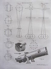 1797 GEORGIAN PRINT ~ TELESCOPE MICROMETER EYEPIECE DIAGRAMS LENSES etc