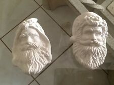 Ceramic Bisque Christmas Ornament 2 Santa Heads U-Paint Ready To Paint