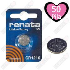 50x Renata Batteria Cr1216 Litio 3v Pulsante Batteria Cr 1216 Pile a Bottone