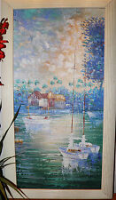 """Boats on lake Listed Artist Oil Painting Canvas Signed W Amion16""""x 28"""" BestOffer"""