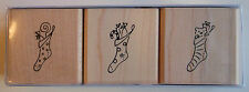 Set of 3 Christmas Stockings Rubber Stamps - Wood Mounted