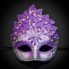 Purple & Silver Venetian Leaf Engraving Masquerade Mask for Women M3237
