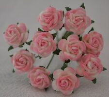 50 BABY PINK Rose (1cm) Mulberry Paper Flowers wedding & miniature