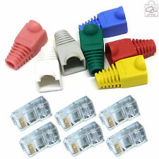 10 CAT6 RJ45 Ends Plug Boot Crimp Cable Connectors LAN