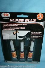 3 pack SUPER GLUE tube super strong fast acting rubber metal glass plastic wood