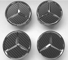 4X MERCEDES ALLOY WHEEL CENTRE CAPS A B C E CLASS CLS ML AMG A45 C63 75MM CARBON
