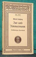 Lortzing, Zar und Zimmermann, Komische Oper in 3 Aufzügen, reclam 2549