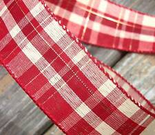 """5 Yards Red Ivory Cream Gold Reversible Country Plaid Wired Ribbon 1 1/2""""W"""