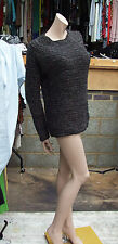 Maje sz 3 Fabulous Black Grey & Bronze Cunky Long Sleeve Knit Jumper Swaetor Top