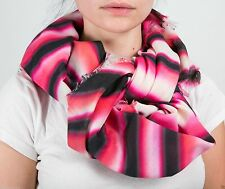 Leigh & Luca Square Natural silk scarf with digital warp stripes