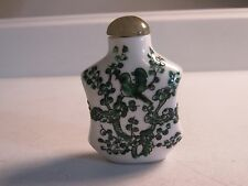 VTG Porcelain White Green Snuff Bottle Enameled Bird  Tree Jade Stone Stopper