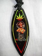 RASTA COLORS DUDE PLAYING STEEL DRUMS SMOKE WEED LEAF SURFBOARD PENDANT NECKLACE