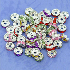 50Pcs/Lot Silver Plated Czech Crystal Spacer Rondelle Beads Charm Findings 8mm