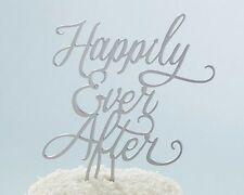 Happily Ever After Silver Script Fairy Tale Wedding Cake Topper Q35436