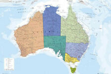 Map of Australia Poster Wall Chart 60cm x 90cm Very Detailed Colourful #185