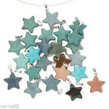 Mixed Stone Star Pendants (10) TEN with Silver Bail Ready to Wear!