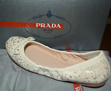NIB PRADA OFF WHITE PATENT LEATHER FLATS SHOES US 6 EU 36.5