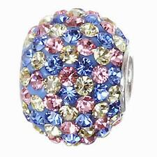 .925 STERLING SILVER BIRTHSTONE ROUND CRYSTAL BEAD FITS EUROPEAN CHARM BRACELET