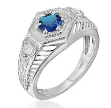 Sterling Silver 1/2ct TW Sapphire & CZ Art Deco Inspired Milgrain Ring Size 7