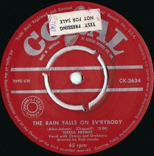 Teresa Brewer OZ Promo 45 Rain falls on everybody VG+ 58 Coral CK3634 Vocal Pop