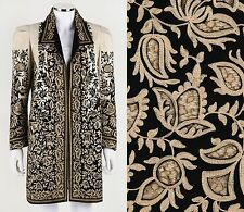 VTG 1910s 1920s BEIGE & BLACK EMBROIDERED CUTWORK FELT LACE COAT - MUSEUM PIECE