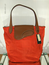 GENUINE LAUREN RALPH LAUREN TOTE/SHOPPER BAG LEATHER/NYLON ORANGE/TAN BNWL