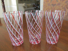 (3) BEAUTIFUL VINTAGE RED & WHITE STRIPES SWIRLED ICED TEA GLASS TUMBLERS EXCL