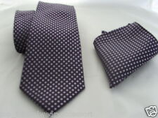 "15)SILK Purple/Lilac-Tiny Diamonds Shape-Necktie & Hanky Set-TIES-3.5""=9cm Width"