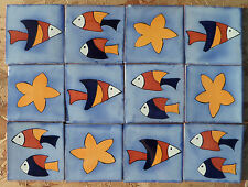 """36~Talavera Mexican 4"""" tile kiln fired hand painted STAR FISH SWIMMING OCEAN"""