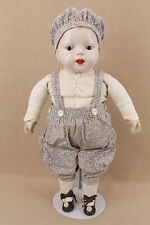 "22"" old antique composition cloth baby doll with printed cloth body"