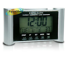 Digital Calendar Time Therm Lamp Alarm Snooze Countdown Clock Silver