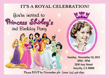 DISNEY PRINCESS CUSTOM PRINTABLE BIRTHDAY PARTY INVITATION & FREE THANK U CARD C